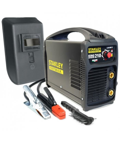 Poste a souder inverter STANLEY FATMAX KING 210 PRO 100% Duty cycle MMA TIG LIFT Electrodes Acier Inox Fonte Basiques 1.6 a 5 mm