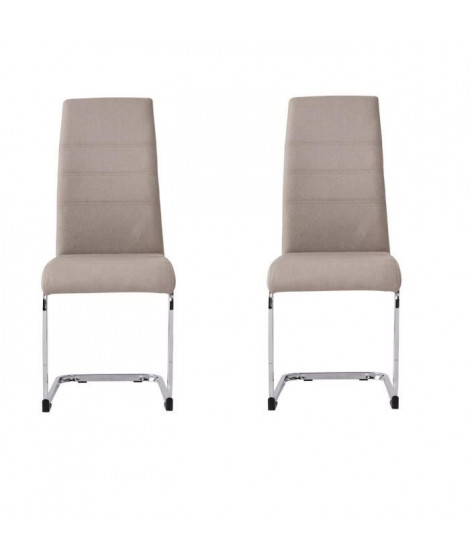 JANE Lot de 2 chaises - Pied chromé - Tissu taupe - L 42 x P 56 x H 99 cm