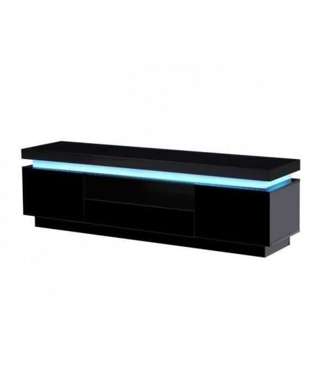 FLASH Meuble TV avec LED contemporain noir laqué brillant - L 165 cm