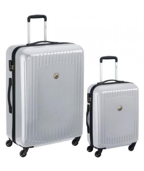 DELSEY Lot de 2 Valises Trolley Namies 55 + 76 4 Roues TSA - ABS/Polycarbonate Argent