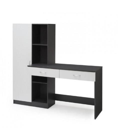 OPTIM Bureau contemporain décor blanc et gris - L 160 cm