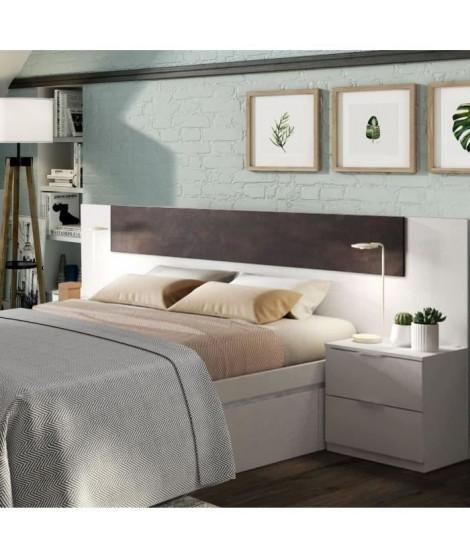 ALAYA Tete de lit + 2 Tables de chevet - Décor blanc
