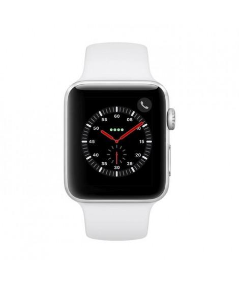 AppleWatch Series3 GPS+Cellular, 42mm Boîtier en aluminium argenté avec bracelet sport blanc