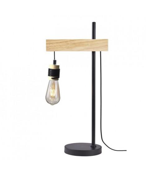 DETROIT Lampe industrielle en bois - 24 x 18 x H60 cm - Noir - Ampoule décorative E27 40W fournie