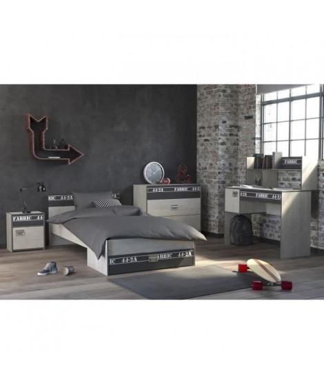 NOA Chambre enfant complete - Industriel - Décor gris loft et ombre - l 90 x L 200 cm