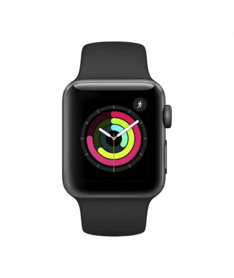 AppleWatch Series3 GPS, 38mm Boîtier en aluminium gris sidéral avec bracelet sport noir