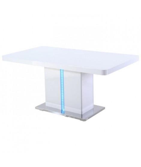 LASER Table a manger avec LED de 6 a 8 personnes style contemporain laqué blanc brillant avec base en métal - L 160 x l 90 cm