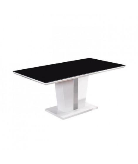 TREVISE Table a manger 8 personnes contemporain - Laqué blanc brillant + Plateau de verre trempé noir - L 180 x l 90 cm