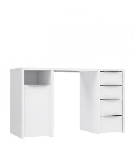 BILBAO Bureau 1 porte 4 tiroirs - Décor papier blanc - L 125 x P 50 x H 75 cm