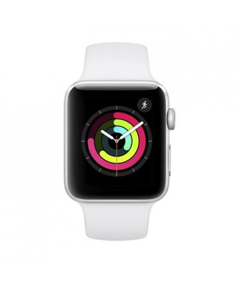 AppleWatch Series3 GPS, 42mm Boîtier en aluminium argenté avec bracelet sport blanc
