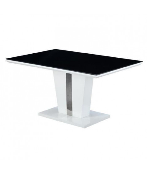 TREVISE Table a manger 6 personnes contemporain - Blanc brillant + Plateau en verre trempé noir - L 150 x l 90 cm