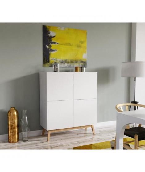 HOME Argentier contemporain blanc laqué - Pieds en bois tilleul massif - L 100 cm