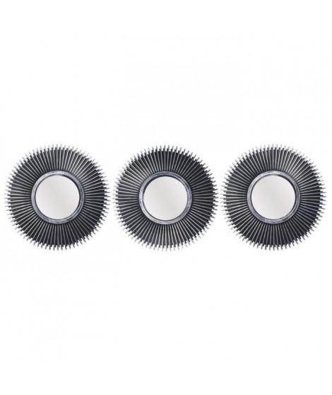 Lot de 3 miroirs ronds abstraits - Ø 25 cm - Noir