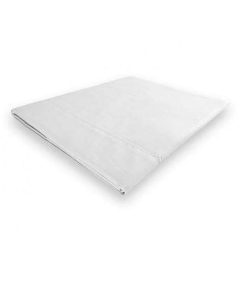 SOLEIL d'OCRE Drap plat Camille - Coton percale - 180 x 290 cm - Blanc