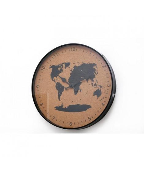 Horloge liege voyage - 35 cm - Noir et naturel