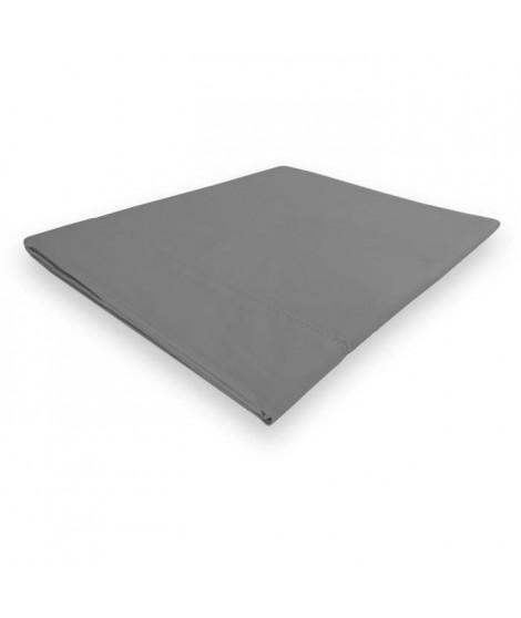 SOLEIL d'OCRE Drap plat Camille - Coton percale - 180 x 290 cm - Gris