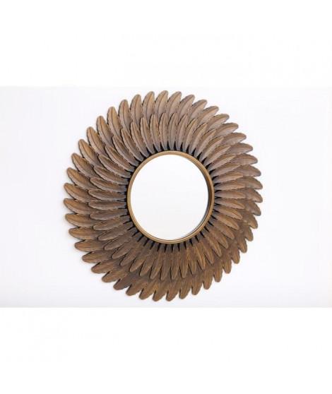 PHÉNIX Miroir motif plumes - Ø61 cm - Bronze