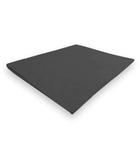 SOLEIL d'OCRE Drap plat Camille - Coton percale - 180 x 290 cm - Gris anthracite