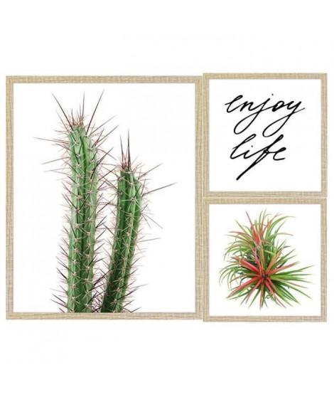 Lot de 2 cadres Enjoy life - 40x50 / 24x24 cm - MDF - Blanc, vert, rouge et blanc - Moulure 1,5 cm