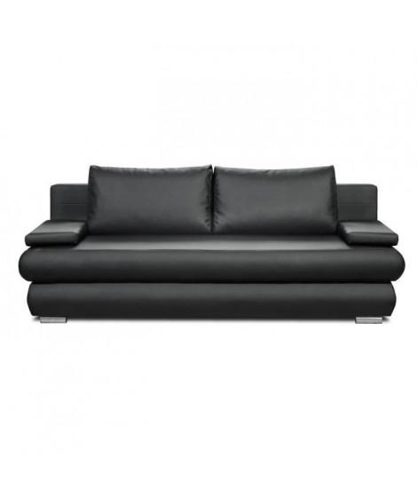 CLYDE Banquette convertible 3 places - Simili gris ardoise - Style contemporain - L 187 x P 94 cm
