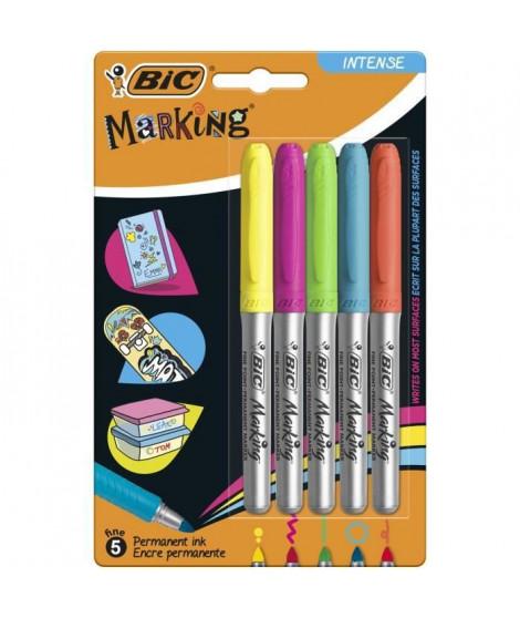 BIC Marking Marqueurs Permanents a Pointe Moyenne - Couleurs Intense Assorties, Blister de 5