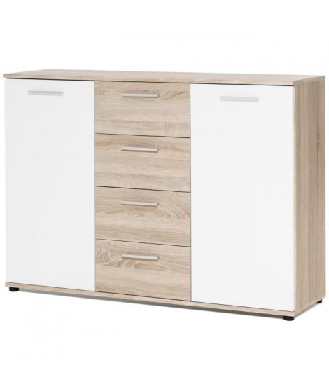 JACKY Buffet bas classique blanc mat et décor chene - L 120 cm