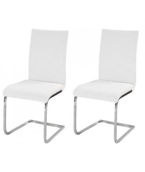 LEA Lot de 2 chaises de salle a manger - Simili blanc - Style contemporain - L 43 x P 56 cm