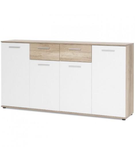 JACKY Buffet bas classique blanc mat et décor chene - L 160 cm