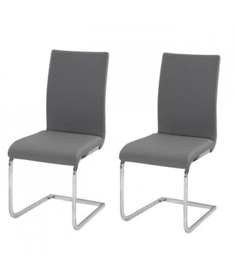 LEA Lot de 2 chaises de salle a manger - Simili gris - Style contemporain - L 43 x P 56 cm