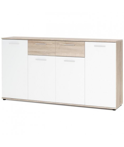 JACKY Buffet bas classique blanc et décor chene mat - L 160 cm