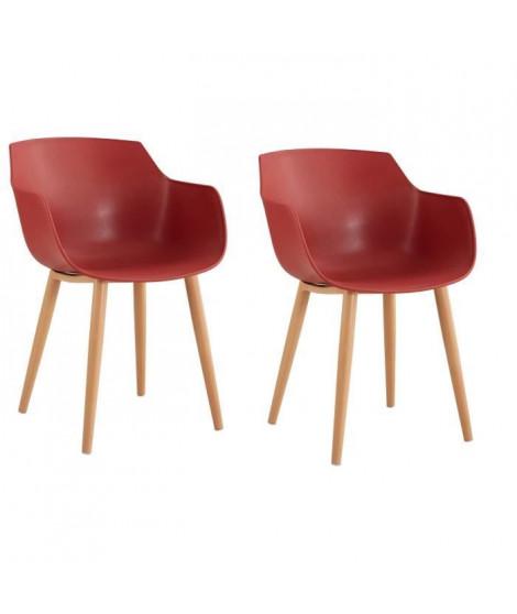 THEA Lot de 2 chaises de salle a manger - Style scandinave - Rouge terracotta - L 56 x P 57 x H 79 cm