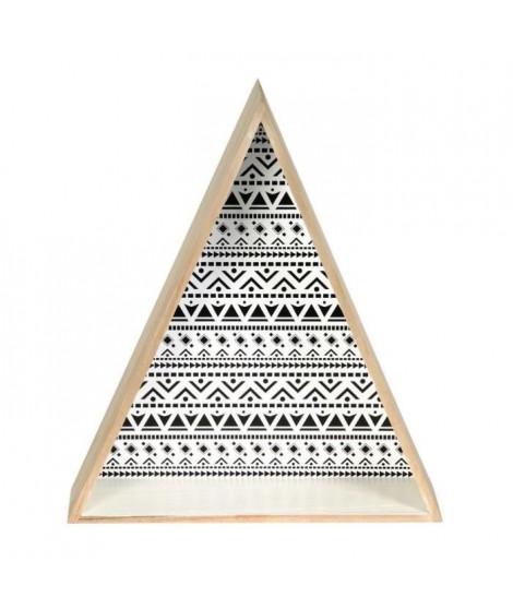 TRIANGLES Lot de 2 étageres murales triangulaires - Bois - 37,5x11x73 cm - Beige et noir