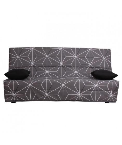 SPLOT Banquette clic clac 3 places - Tissu motif Saka - Style contemporain - L 190 x P 95 cm