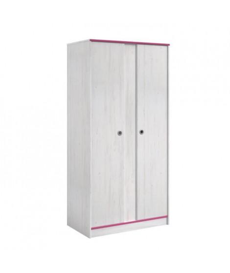 SWITCH Armoire enfant 2 portes décor pin memphis et chants réversibles bleu / rose - L 90 cm