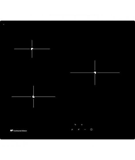 CONTINENTAL EDISON - TV3ZSE - Table de cuisson vitrocéramique - 3 zones - 5300W - L59xP52cm - Revetement verre - Noir