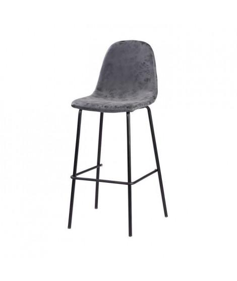 VINTI Tabouret de bar - Simili gris anthracite - Industriel - L 39,5 x P 47,5 cm