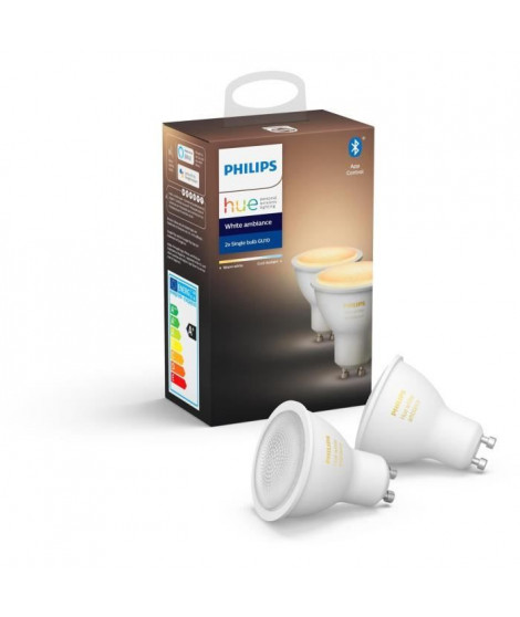 PHILIPS HUE Pack de 2 ampoules White Ambiance - 5,5 W - GU10 - Bluetooth