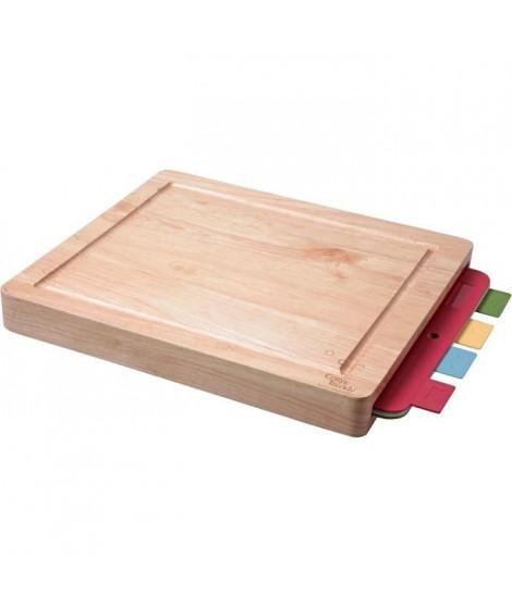 Cosy & Trendy 788631 Planche a viande en bois d'hévéa + 4 plaque flexible assortis-40x34x4,5 Cm