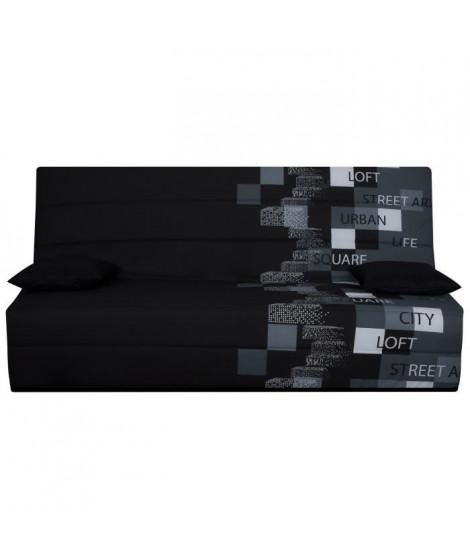 SPLOT Banquette clic-clac 3 places - Tissu motif Urban Street - Style contemporain - L 190 x P 95 cm
