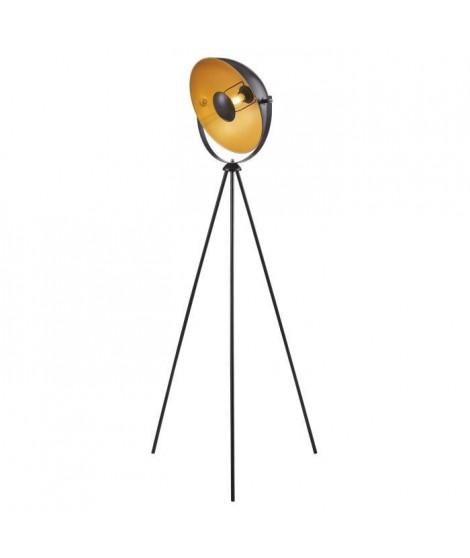 MOVIE Lampadaire trépied - H 148 cm - Tete : Ø 35 cm - Noir et doré
