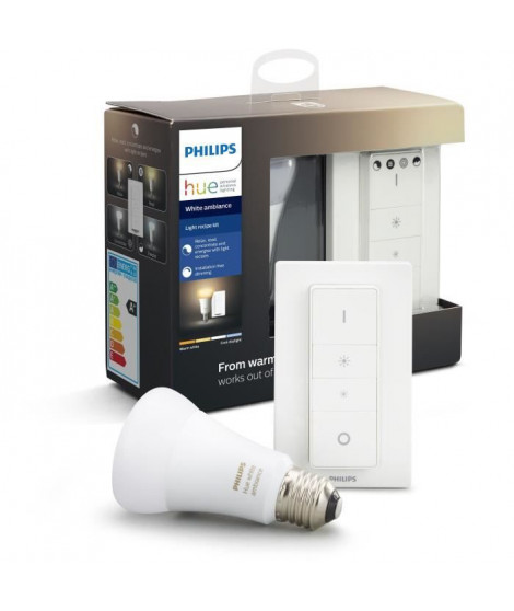 PHILIPS HUE Kit d'éclairage White Ambiance Ampoule et télécommande variateur - 10 W -E27 - Bluetooth