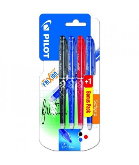 PILOT - Frixion Point Fin - Encre noire / bleue / rouge - x3 + 1 BONUS PACK Bleu ou Vert Assortis