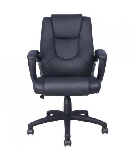 GASPARD Fauteuil de bureau - Simili Noir - L 55 P 50 x H 103-113cm