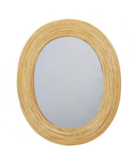 Miroir oval en rotin - 60,5 x 51 x 2 cm - Marron naturel