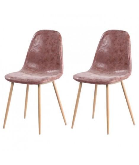 Lot de 2 chaises de salle a manger pieds en métal imitation bois - Revetement simili PU marron - Style industriel - L 54 x P …