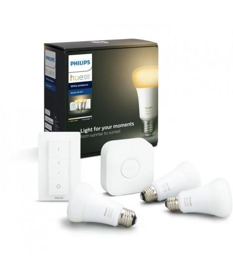PHILIPS HUE Kit de démarrage White Ambiance 3 ampoules avec pont de connexion et télécommande variateur - 10 W - E27
