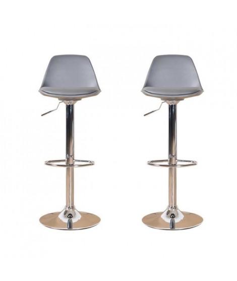 NEO Lot de 2 tabourets de bar - Simili gris - Contemporain - L 38 x P 42,5 cm