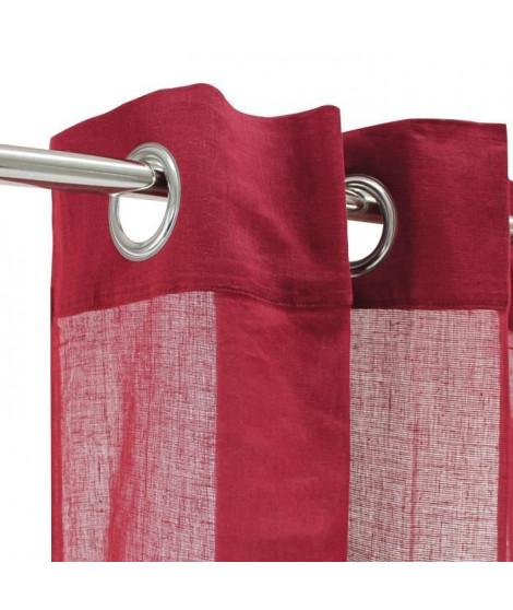 Voilage 100% coton - Rouge - 105x250 cm