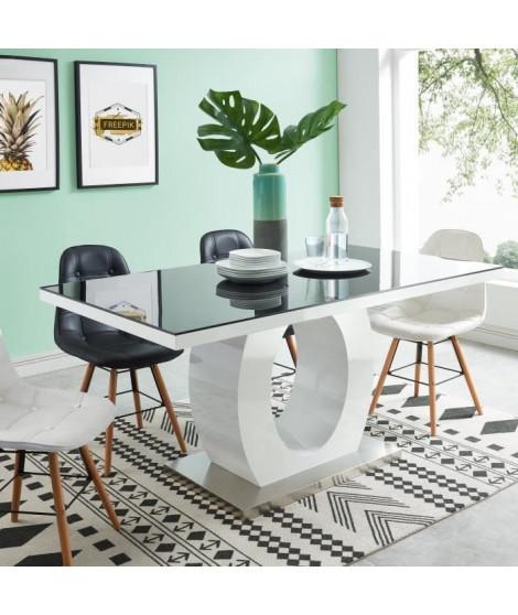 RING Table a manger de 6 a 8 personnes style contemporain laquée blanc brillant et noir - L 160 x l 90 cm