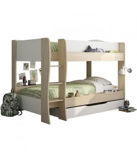 RIOU Lit superposé avec tiroir - Décor chene clair et blanc - Sommiers inclus - 2x90x200 cm